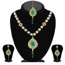 Soha Fashion Green Kundan Necklace Set With Maang Tikka