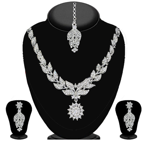 Soha Fashion White Stone Necklace Set With Maang Tikka