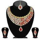 Soha Fashion Red Stone Necklace Set With Maang Tikka - 2200805 - ES