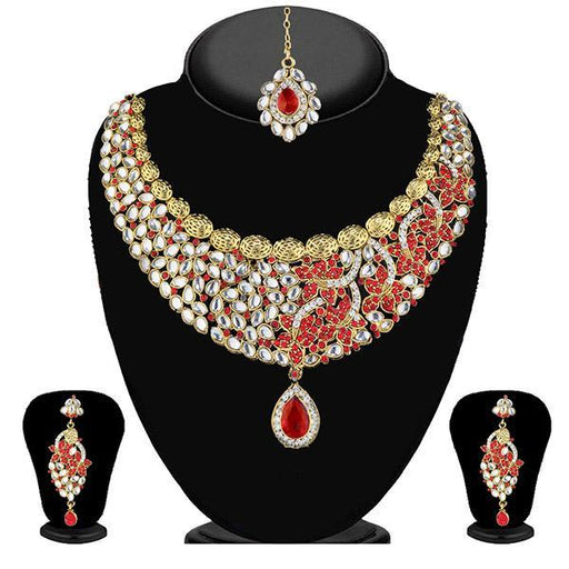 Soha Fashion Red Stone Necklace Set With Maang Tikka - 2200805 - AD