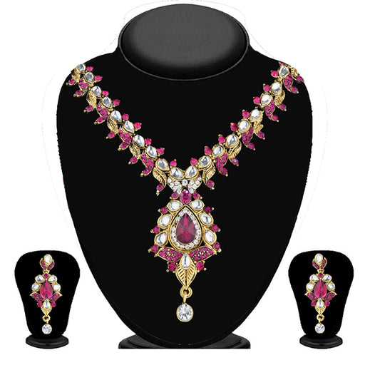 Soha Fashion Pink Kundan Necklace Set
