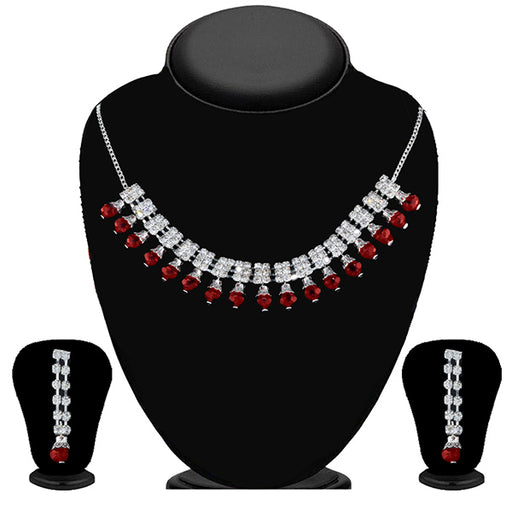 Soha Fashion Maroon & White Stone Necklace Set