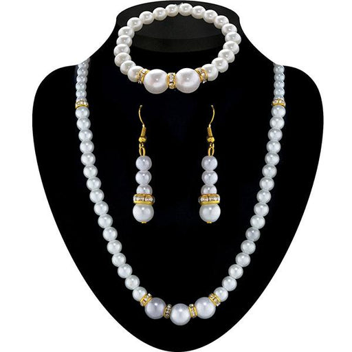 Soha Fashion Gold Plated Pearl Necklace Set With Bracelet