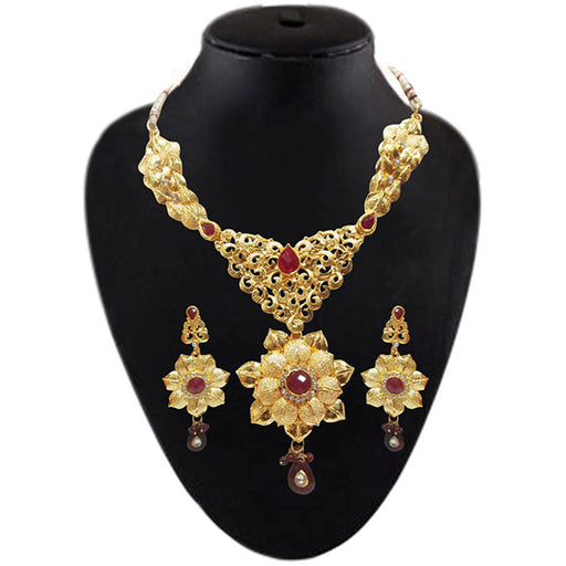 Soha Fashion Maroon Pota Stone Necklace Set