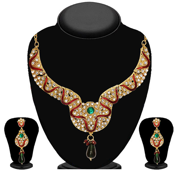 Soha Fashion Maroon & Green Meenakari Stone Necklace Set