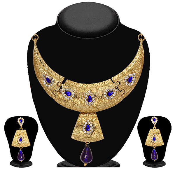 Soha Fashion Blue Austrian Stone Drop Necklace Set