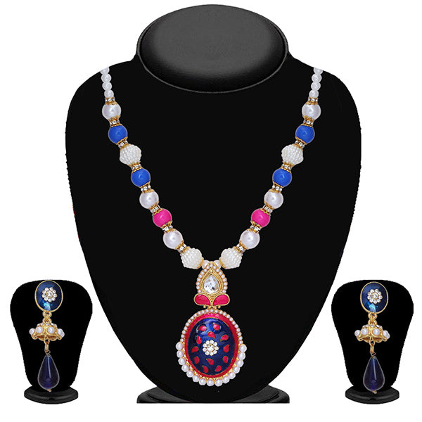Soha Fashion Multicolour Meenakari Pearl Necklace Set