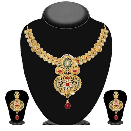 Soha Fashion Red Pota Stone Drop Necklace Set - 2202101-ES