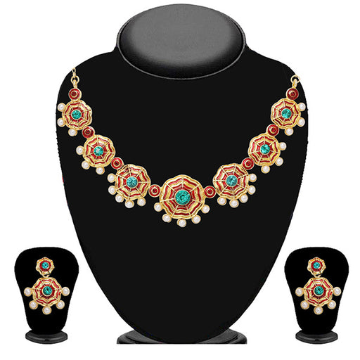 Soha Fashion Green Stone Meenakari Pearl Necklace Set