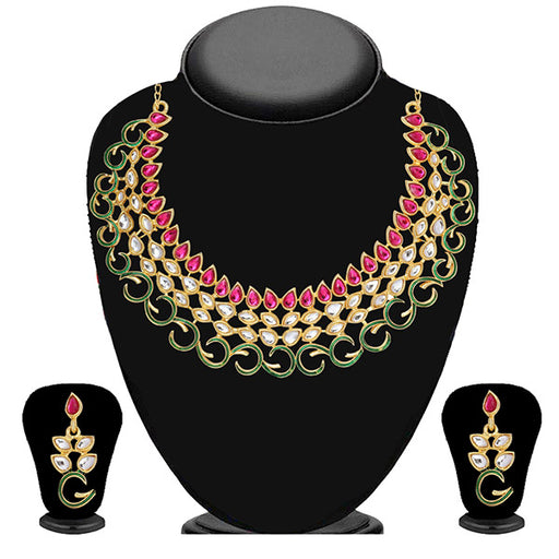 Soha Fashion Pink Kundan Meenakari Necklace Set