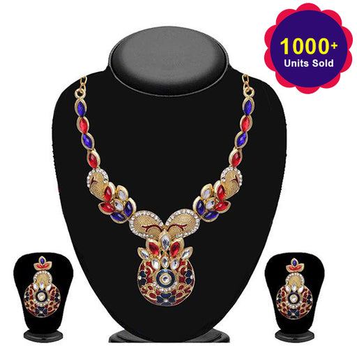 Soha Fashion Blue Stone Floral Design Necklace Set