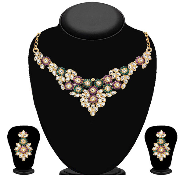 Soha Fashion Green And Purple Stone Kundan Necklace Set