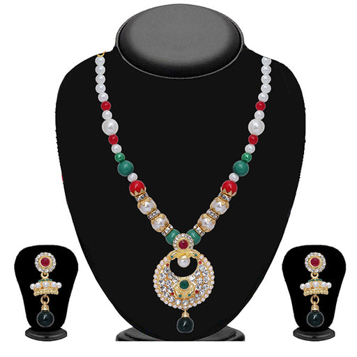 Soha Fashion Multicolour Stone Pearl Necklace Set