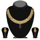 Soha Fashion Maroon And Green Stone Necklace Set
