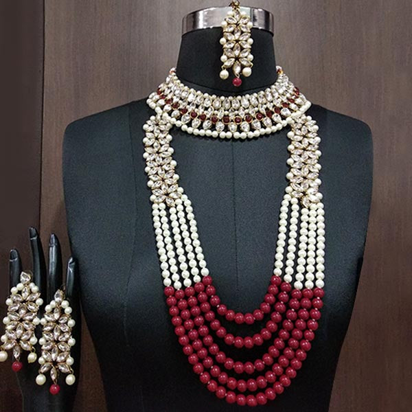 Kriaa Gold Plated Maroon Stone Bridal Set