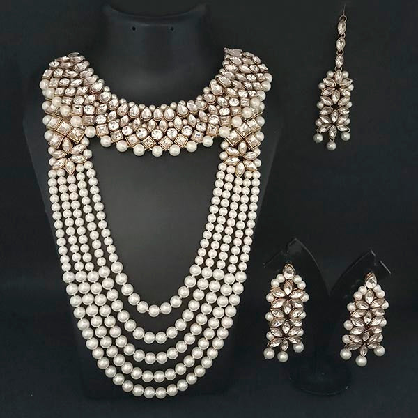 Kriaa Gold Plated White Stone Bridal Set