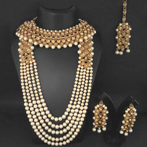Kriaa Gold Plated Brown Stone Bridal Set