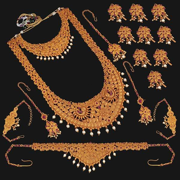 Shubham Pota Stone Copper Bridal Jewellery Set - 24050B