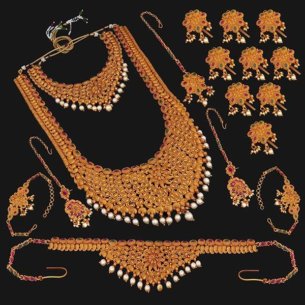 Shubham Pota Stone Copper Bridal Jewellery Set - 24052A