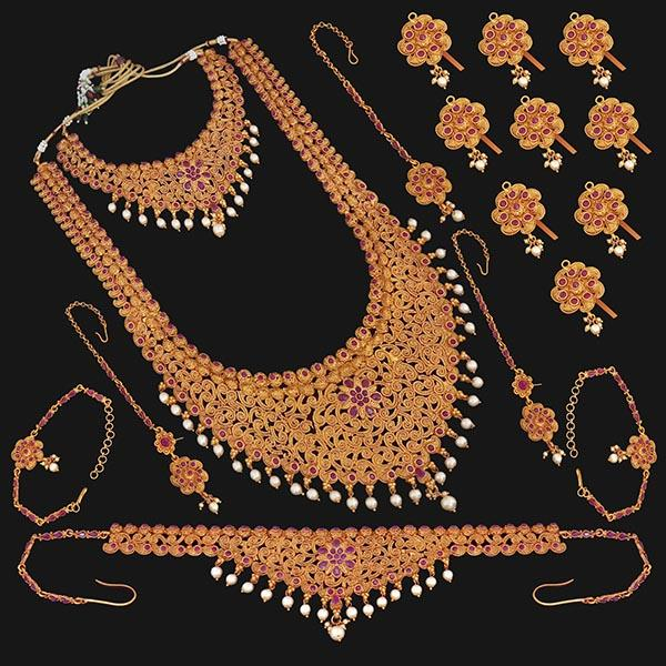 Shubham Pota Stone Copper Bridal Jewellery Set - 24053B
