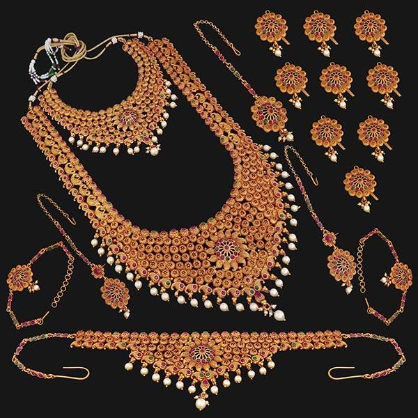Shubham Pota Stone Copper Bridal Jewellery Set - 24056A