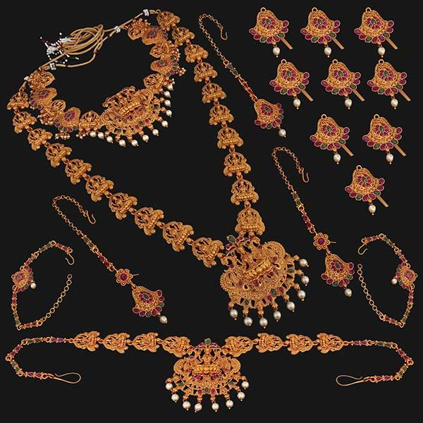 Shubham Pota Stone Copper Bridal Jewellery Set - 24066A