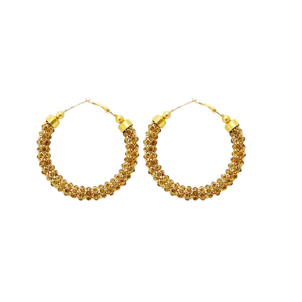 Jheel Gold Plated Brown Austrian Stone Hoop Earrings