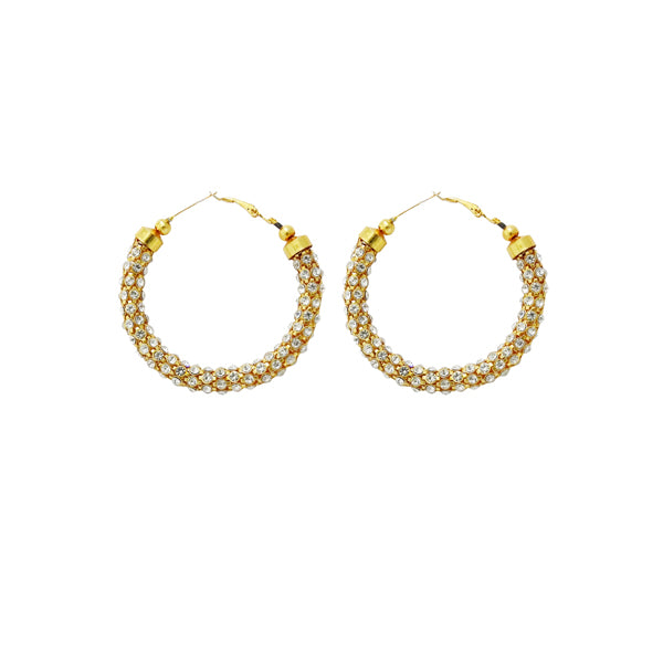 Jheel Gold Plated White Austrian Stone Hoop Earrings