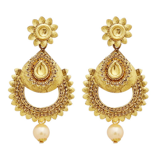 Jheel Austrian Stone And Kundan Pearl Drop Dangler Earrings