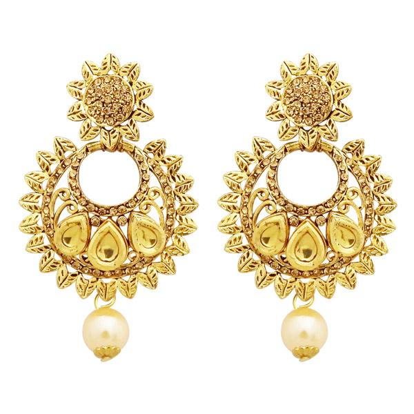 Native Haat Austrian Stone Kundan Pearl Drop Dangler Earrings - N2900212A