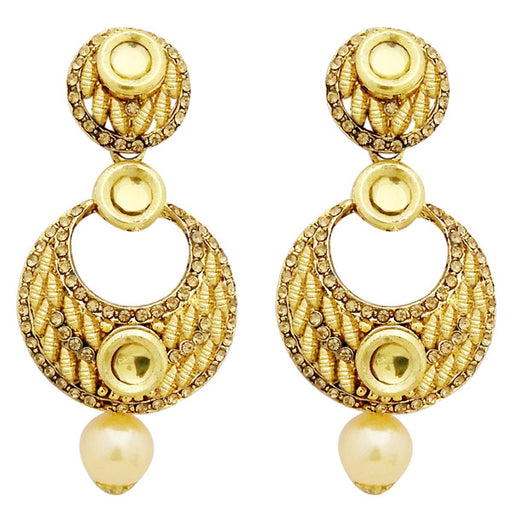 Jheel Austrian Stone Kundan Pearl Drop Dangler Earrings