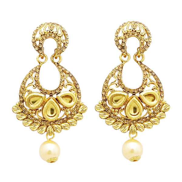 Jheel Austrian Stone Pearl Drop Dangler Earrings