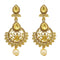 Jheel Brown Stone Gold Plated Pearl Drop Dangler Earrings
