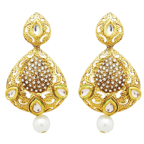 Jheel Stone Gold Plated Pearl Drop Dangler Earrings