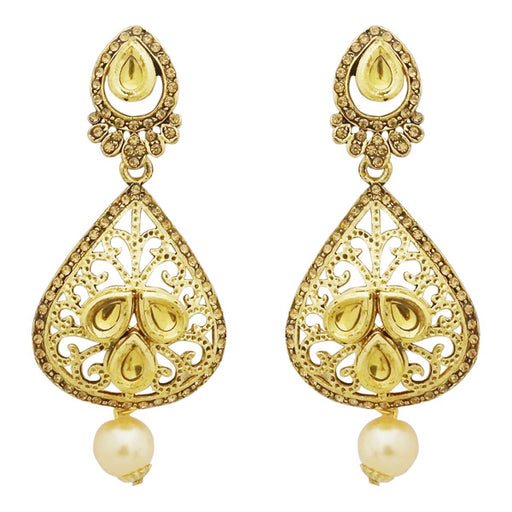 Jheel Kundan Stone Gold Plated Pearl Drop Dangler Earrings