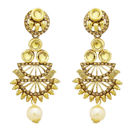 Jheel Kundan Austrian Stone Pearl Drop Dangler Earrings