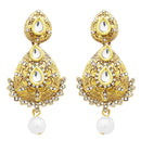 Jheel Austrian Stone Gold Plated Pearl Drop Dangler Earrings