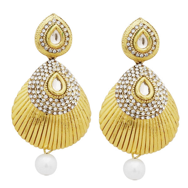 Jheel Gold Plated Austrian Pearl Drop Dangler Earrings
