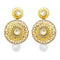 Jheel Gold Plated Austrian Stone Pearl Drop Dangler Earrings