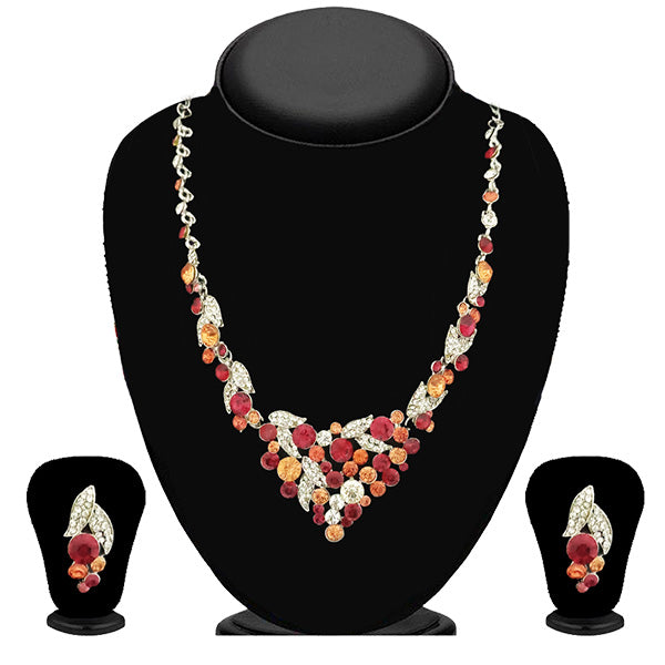Kriaa Gold Plated Multicolour Austrian Stone Necklace Set