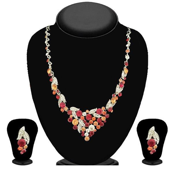 Kriaa Gold Plated Multicolour Austrian Stone Necklace Set-WN