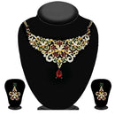 Kriaa Maroon And Green Austrian Stone Necklace Set-2105702-WN