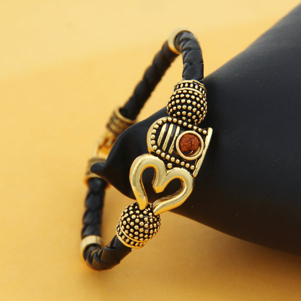 Femmibella Rexine Gold Plated Om, Shivling, Rudraksha Trishul Auspicious Shiva Bracelets for Men and Women