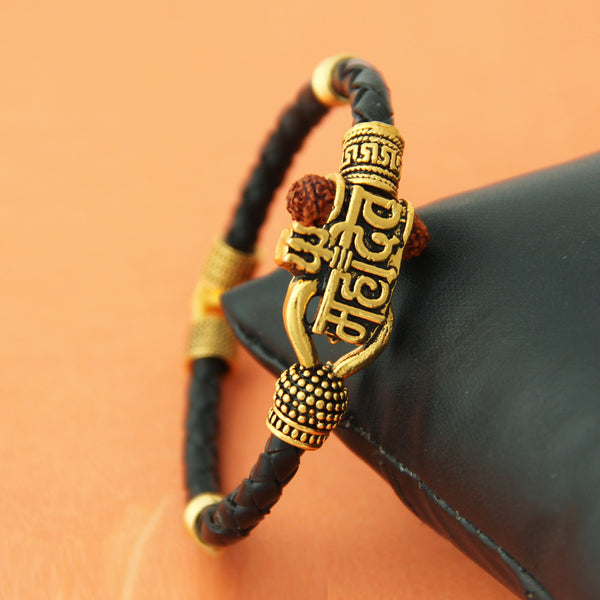 Femmibella Rexine Gold Plated Mahadev, Rudraksha Trishul Auspicious Shiva Bracelets for Men and Women