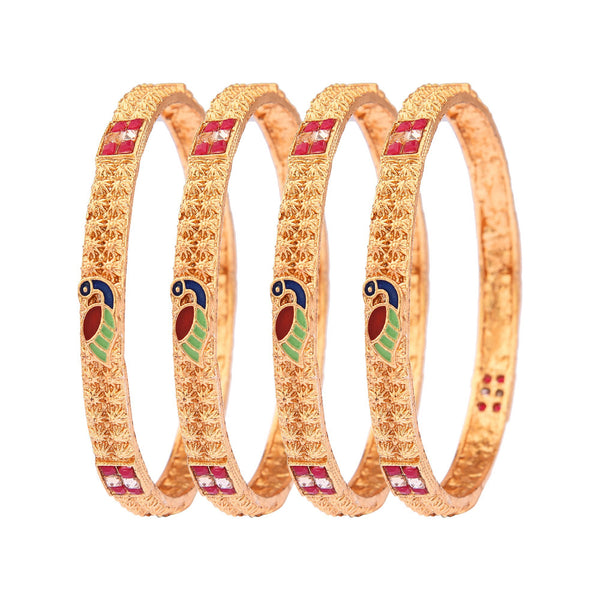 Femmibella Gold Plated Meenakari LCT Stone Polki Kada Bangle for Womens