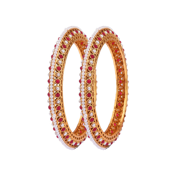 Femmibella Gold Plated Filigree Pearl Ruby Stone Studded Kada Bangle for Womens