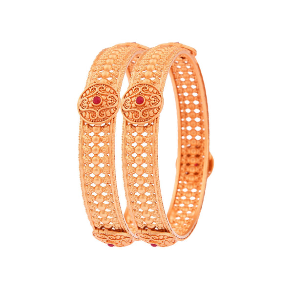 Femmibella Gold Plated Intricate Work Ruby Studded Kada Bangle for Womens