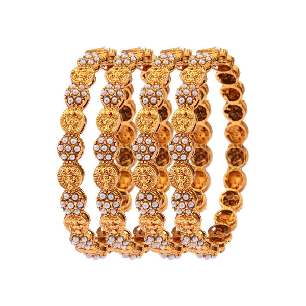 Femmibella Gold Plated Antique Work Pearl Studded Kada Bangle for Womens