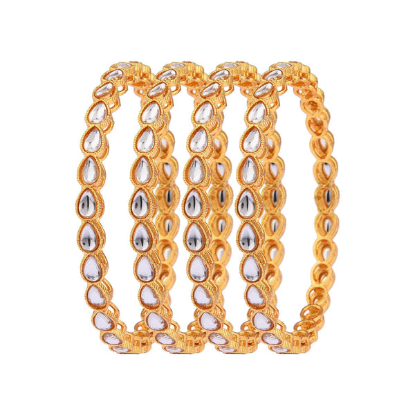 Femmibella Gold Plated Antique Kundan Studded Kada Bangle for Womens
