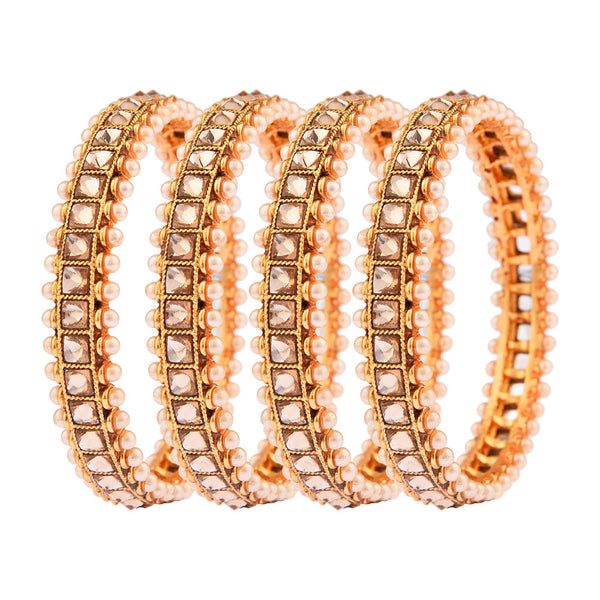 Femmibella Gold Plated LCT Pearl Studded Kada Bangle for Womens